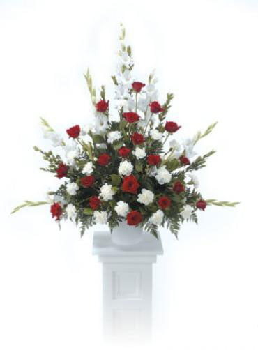 pedestal red and white
